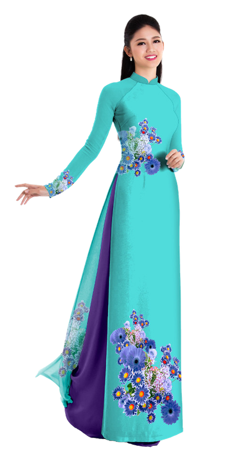Fall Teal Ao Dai