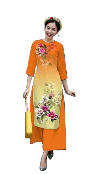 CachTan Orange Ao Dai