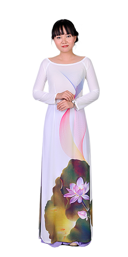 Lotus White Ao Dai